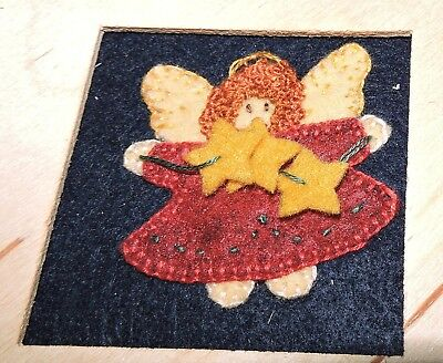 Sunset Christmas Angel Completed Felt Applique Wood Frame Picture Panel Kit Sew