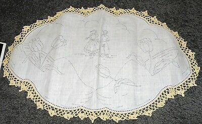 Retro Big Oval Doily Dutch Clogs Boy Girl Tulips Crewel Embroidery Stamped Linen
