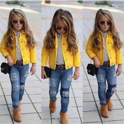 Princess Kids Girls Denim Jacket Button Chic Coat Outerwear Tops Clothes