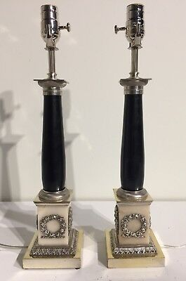 Pair Of Antique Marble / Bronze Fine  Table Lamps