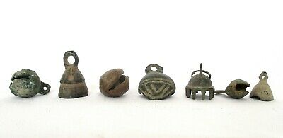 18th C, Antique Islamic Middle Eastern Set of 7 Miniature Bronze / Brass Bells