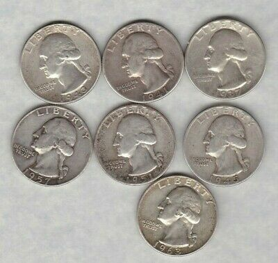 Seven Usa Silver Quarter Dollars 1937D To 1963 In A Used Condition
