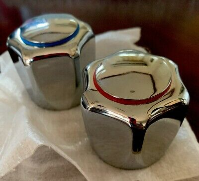 1 Set Chrome Handles Bath Vintage W Red & Blue Circles Hot Cold