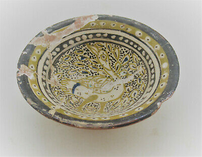 Ancient Islamic Glazed Ceramic Bowl With Bird Motif Circa 1100-1200Ad