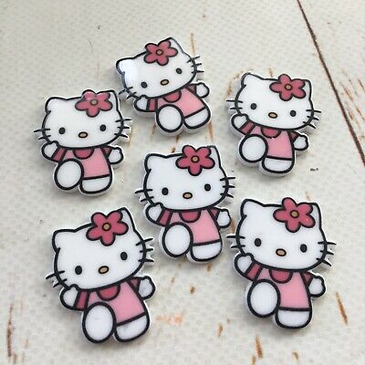 10 x Hello to Pink Pinny Kitty Resin Cabochons KAWAII DIY Suit Girls HairSnaps