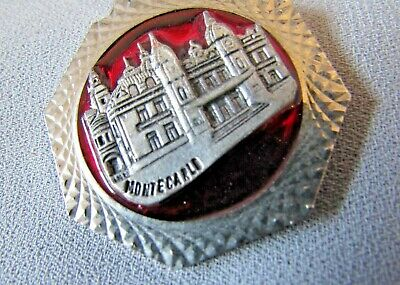 Monte Carlo Casino Silver Tone Red Enamel Center Collectible Key Ring Holder