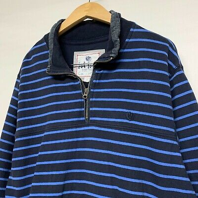 Men's Fat Face Zip Neck Sweatshirt Jumper Size Large L Navy Black Striped