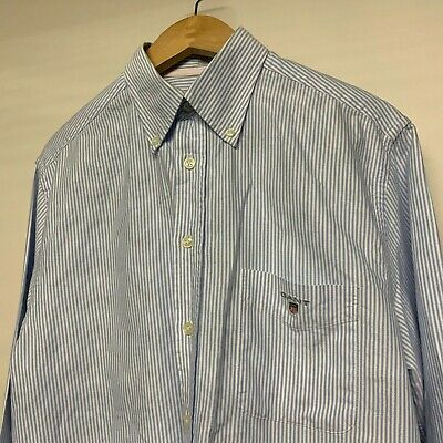 Super Cool 100% Genuine Mens Gant Blue & Light Blue Stripe Shirt In Medium