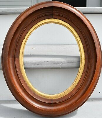 Antique Aesthetic Victorian Walnut Oval 8 x 10 Picture Frame GOLD GILT c. 1870's