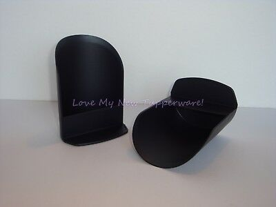 Tupperware Rocker Scoops Set of 2 Flour Sugar Rice Pet Food Black New