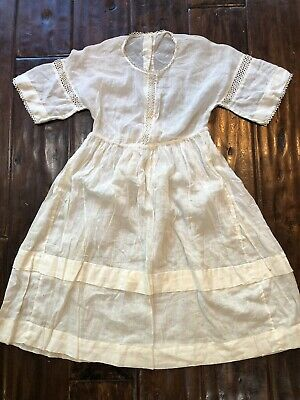 Edwardian White Cotton Girls Dress Antique