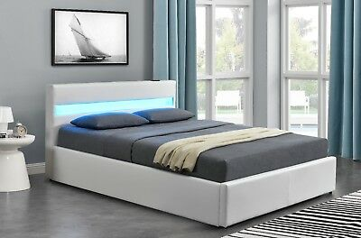 Harmin LED OTTOMAN BLUETOOTH Music Bed - White 4ft6 Double Size