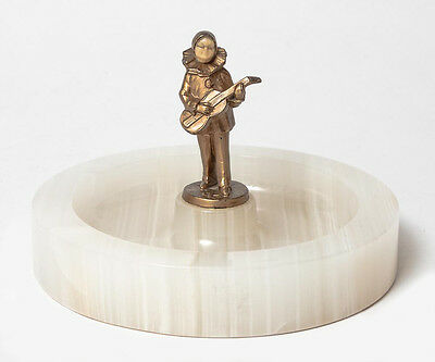 Art Deco White Onyx Dish with Austrian Cold Painted Pierrot Bronze Figure