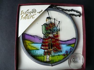Winged Heart Window Decoration - Scottish Piper - Hand Painted Piper Decoration
