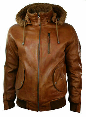 Men's Real Leather Hood Fur Jacket Bomber Aviator Tan Brown Retro Lizaz Leather