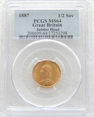 1887 Queen Victoria Jubilee Head Gold Half Sovereign Coin PCGS MS64