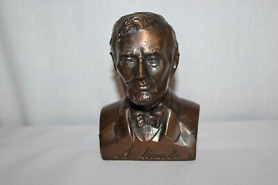 Vintage Bronze Abraham Lincoln Bust Still Piggy Bank Banthrico Federal Savings