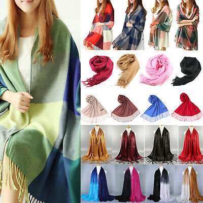 Womens Tassels Scarf Winter Warm Long Plaid Shawl Solid Pashmina Pure Soft Wrap