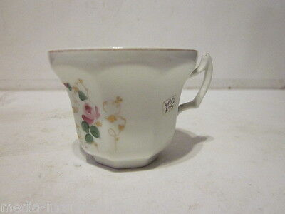 Antique German Kpm Porcelain Coffee Cup With Saying Pink Cabbage Rose Design
