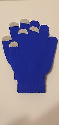 Men Women Winter Warmer Knit Knitted Casual Gloves Stretch One Size Blue