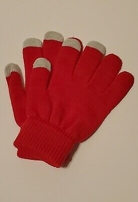 Men Women Winter Warmer Knit Knitted Casual Gloves Stretch One Size Red