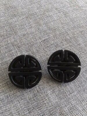 Vintage Ornate Hand Carved Chinese Black Jade Nephrite Goddess Earrings