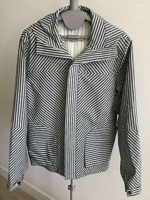 Mens SHADES OF GREIGE Blue Cream Striped Cotton Hidden Button Hooded Jacket M