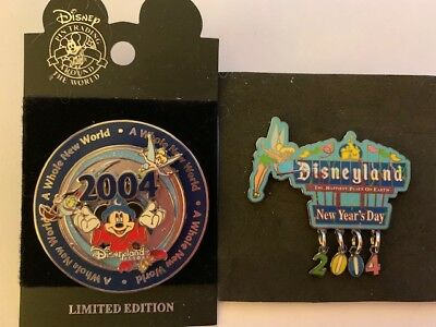 Disneyland - 2004 Whole New World & New Year's Day Pins Mickey Tink - 2 Pins LE