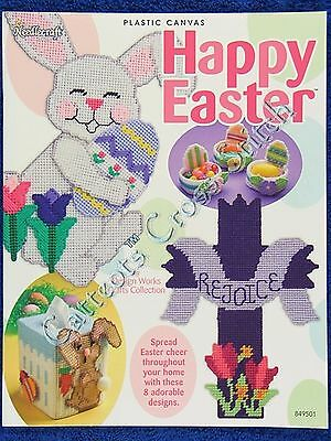 Plastic Canvas Pattern Happy Easter Bunnys Cross Eggs Basket Tissue Cover OOP