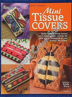 Plastic Canvas Pattern Mini Tissue Covers 8 Designs Butterfly Watermelon Bee OOP
