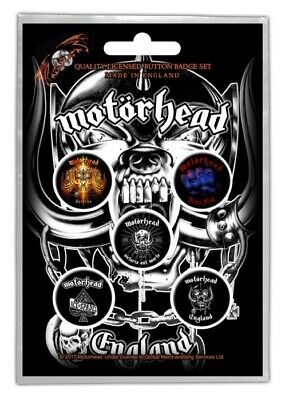 Motorhead England Badge Pack Official Metal Button Badges Set