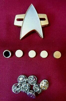 Star Trek Picard The Next Generation Voyager Communicator Pin Badge + Rank Pip