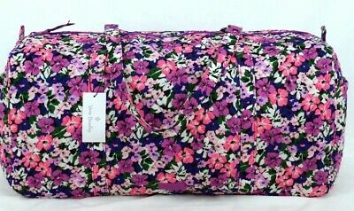 NEW Vera Bradley Large Traveler Duffel Bag Flower Garden Pattern Fold Quilted