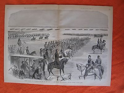 1885 Civil War Print - Lincoln Reviewing Stoneman's Cavalry, in Army of Potomac