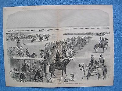 1883 Civil War Print - President Lincoln Reviewing Stoneman's Cavalry - FRAME IT