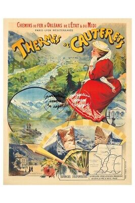 TOURISME THERMES de CAUTERETS Réf0722-REPRODUCTION A3+(*) d'1AFFICHE VINTAGE