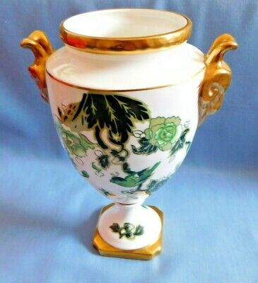 Coalport CATHAY pattern vase/urn with gold rams head handles