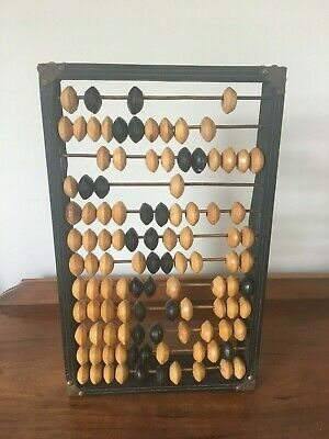 Vintage abacus - Russian calculator with wooden beads and metal rods