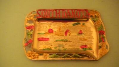Vintage MID-CENTURY Souvenir Cast Aluminum Metal ASHTRAY South Dakota