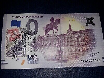billet souvenir zero euro madrid plaza mayor 2018 trimbre et tamponné