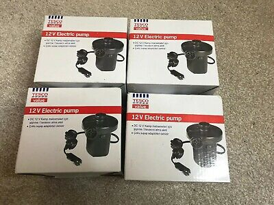 12V DC Car Electric Pump Air Inflator With 3 Nozzles Tesco Brand New