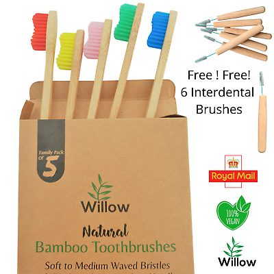 Bamboo Toothbrush Biodegradable Natural Wooden With Medium Waved Bristles 5 Pack