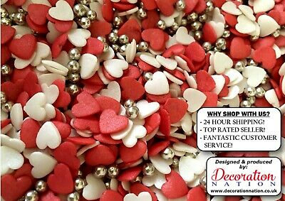 Red & White Glimmer Hearts WITH SILVER PEARLS Edible SPRINKLES Cake Decoration