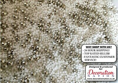 White 100's & 1000's WITH SILVER PEARLS Edible SPRINKLES Cake Decoration