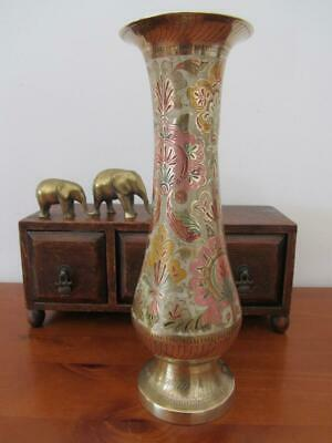 Vintage Tall Heavy BRASS VASE With Colour Etching 35cm