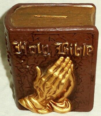 Bible Savings Still Bank Praying Hands Ceramic Reuseable