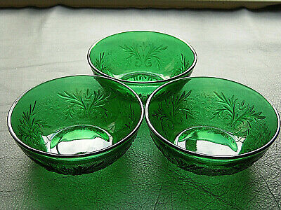 Depression Glass Anchor Hocking Forest Green Sandwich Berry Bowls Set of 3