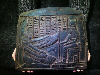 EGYPTIAN ANTIQUE ANTIQUITY Goddess Maat And Isis Stela Stele 2510-2370 BC