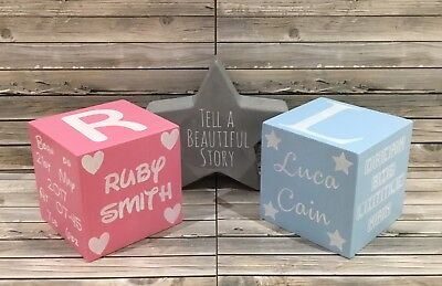 Personalised Wooden Memory Cube . Christening/ Announcement / Nursery Gift