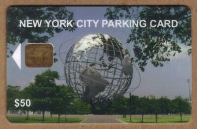 $50. NYC Parking Card: Unisphere Earth Globe. Chip #3 USED Smart Card